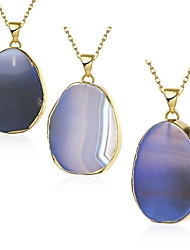 cheap -Women's Crystal Moonstone Pendant Necklace Agate Copper Gold Plated Blue Necklace Jewelry 1pc For Party Daily