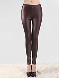 abordables -Femme Polyuréthane Legging - Couleur Pleine Taille médiale Vert Vin Bleu Roi Taille unique / Slim