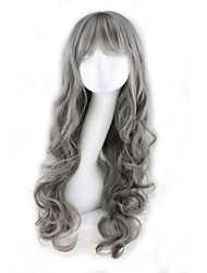 cheap -Synthetic Wig Curly Deep Wave Deep Wave Asymmetrical With Bangs Wig Long Grey Synthetic Hair Women's Natural Hairline Gray