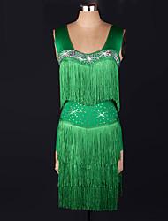cheap -Latin Dance Dresses Women's Performance Spandex Tassel Dress