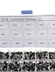 cheap -750pcs 15KindsX50pcs TO-92 Transistor Kit + retail box (A1015, C945, C1815, S8050, S9012,2N2222 ...)