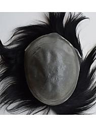 cheap -Men's Human Hair Human Hair Toupees Straight Classic 100% Hand Tied Monofilament Glueless High Quality Daily