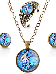 cheap -Women's Jewelry Set Hollow Out Music Flower Music Notes Simple Style Carved Earrings Jewelry Brown For Party Daily Casual / Necklace / Bracelets & Bangles