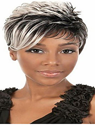 cheap -Synthetic Wig Straight Curly Curly Straight Wig Short Grey Synthetic Hair 6 inch Women's African American Wig Gray hairjoy