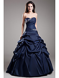 cheap -Ball Gown Elegant Blue Quinceanera Prom Dress Strapless Sleeveless Floor Length Taffeta with Crystals Tier 2020