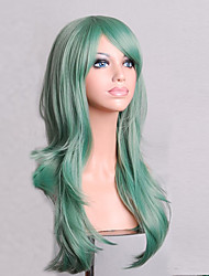 cheap -Synthetic Wig Curly Natural Wave Minaj Style Asymmetrical Wig Green Synthetic Hair Women's Natural Hairline Green Wig Medium Length Long