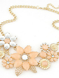 cheap -Women's Statement Necklace Flower European Fashion Bridal Festival / Holiday Pearl Alloy Pink Beige Necklace Jewelry For Wedding Party Special Occasion Birthday Congratulations Gift