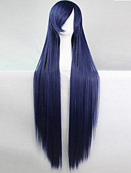 cheap -anime cosplay wig dark blue 100 cm long straight hair high temperature wire Halloween