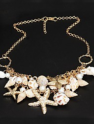 cheap -Women's Pearl Statement Necklace Star Starfish Ladies Unique Design Double-layer Fashion Pearl Shell Cowrie Shell Golden Necklace Jewelry For Party Special Occasion Daily Beach
