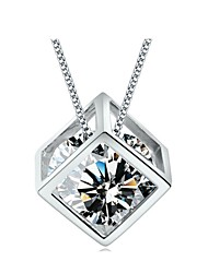 cheap -Women's Pendant Necklace Hollow Out Solitaire Round Cut Ladies Birthstones Sterling Silver Silver Silver Necklace Jewelry For Daily Casual