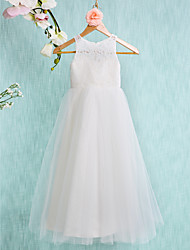 cheap -A-Line Ankle Length Wedding / First Communion Flower Girl Dresses - Lace / Tulle Sleeveless Jewel Neck with Lace / Pleats