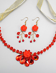 cheap -Red Crystal Earrings Jewelry Red For Wedding Engagement