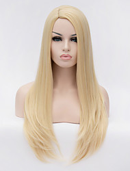 cheap -Synthetic Wig Straight Straight Side Part Wig Blonde Long Blonde Synthetic Hair 24 inch Women's Blonde