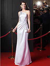 cheap -Sheath / Column One Shoulder Floor Length Stretch Satin Celebrity Style / Minimalist Prom / Formal Evening Dress 2020 with Beading / Criss Cross