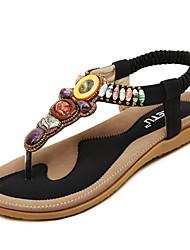 cheap -Women's Flat Heel Sandals Flat Heel Leatherette Comfort Summer Black / Blue / Pink