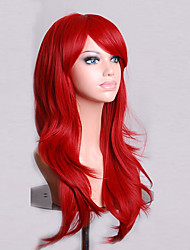 cheap -Synthetic Wig Curly Natural Wave Style Asymmetrical Wig Red Synthetic Hair Women's Natural Hairline Red Wig Medium Length Long