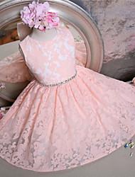 cheap -A-Line Short / Mini Flower Girl Dress - Lace Sleeveless Jewel Neck with Bow(s) / Sash / Ribbon