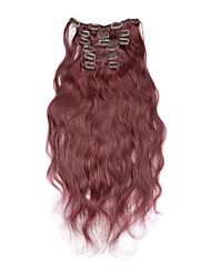 cheap -Clip In Human Hair Extensions Body Wave Human Hair Brazilian Hair Strawberry Blonde