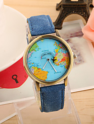 cheap -Women's Wrist Watch World Map Quartz Quilted PU Leather Black / White / Blue Casual Watch Analog Ladies Vintage Fashion World Map - Red Green Blue One Year Battery Life / Tianqiu 377