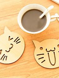 Недорогие -милый животных полые деревянные резные чашки кружка подставки держатель чашки стол площадку магазин-бар чай кофе коврик подарок