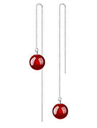 cheap -Women's Agate Drop Earrings Dangling Dangle Sterling Silver Earrings Jewelry Red For Wedding Party Daily Casual