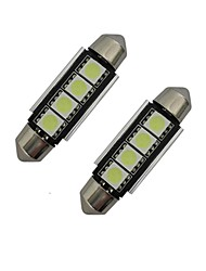 cheap -2pcs 42mm 1.5W 80-90 lm Car Light Reading Light  Decoration Light 4 leds SMD 5050 Cold White DC 12V