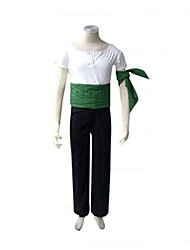 cheap -Inspired by One Piece Roronoa Zoro Anime Cosplay Costumes Japanese Cosplay Suits Patchwork Short Sleeve Pants / Armlet / Corset For Men's