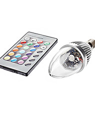cheap -JIAWEN 3W E14 LED Candle Lights C35 1 LED Beads Remote-Controlled RGB AC85-265V