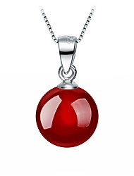 cheap -Women's Red Cora Pendant Necklace Cheap Sterling Silver Silver Plated Silver Black Red Necklace Jewelry For Party Daily Casual Work