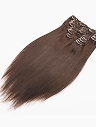 cheap -PANSY Clip In Human Hair Extensions Straight Human Hair Brazilian Hair Bleached Blonde