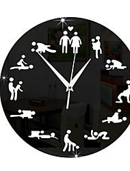 cheap -Mirror Sex Position Wall Clock Clocks 24Hours Sex Clock Novelty Wall Clock