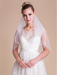 cheap -Two-tier Scalloped Edge / Pearl Trim Edge Wedding Veil Elbow Veils with Pearl / Beading / Sequin Tulle