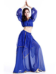 cheap -Belly Dance Outfits Women's Performance Chiffon Sequin Sleeveless Dropped Top / Skirt