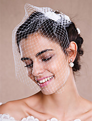 cheap -One-tier Raw Edge Wedding Veil Blusher Veils / Veils for Short Hair / Headpieces with Veil with Pearl Tulle