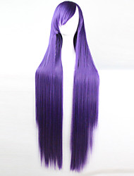 cheap -anime cosplay wig purple 100 cm long straight hair high temperature wire Halloween