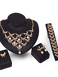 cheap -Jewelry Set Statement Vintage Party Work Casual Link / Chain Cubic Zirconia 18K Gold Earrings Jewelry Gold For 1 set / Necklace