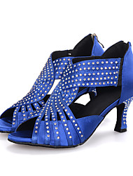 cheap -Women's Latin Shoes Sandal Heel Flared Heel Elastic Fabric Rhinestone Sparkling Glitter Zipper Black / Red / Blue / Performance / Leather / Salsa Shoes / Professional / EU41