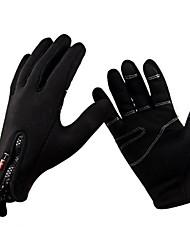 cheap -Winter Bike Gloves / Cycling Gloves Road Bike Cycling Windproof Breathable Warm Anti-Slip Full Finger Gloves Sports Gloves Fleece Black for Adults' Skiing Hiking Riding Zipper