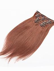 cheap -Clip In Human Hair Extensions Straight Human Hair Brazilian Hair Bleached Blonde