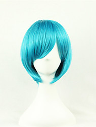 cheap -Synthetic Wig Cosplay Wig Straight Style Asymmetrical Wig Blue Synthetic Hair Women's Natural Hairline Blue Wig Medium Length