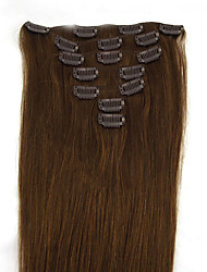 cheap -PANSY Clip In Human Hair Extensions Straight Human Hair Human Hair Extensions Women's Medium Brown / Strawberry Blonde