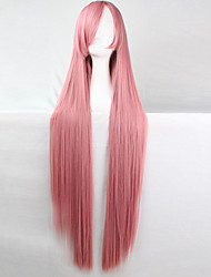 cheap -Cosplay Costume Wig Synthetic Wig Cosplay Wig Straight Kardashian Straight Asymmetrical Wig Pink Long Pink Synthetic Hair Women's Natural Hairline Pink