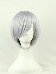 cheap -Synthetic Wig Cosplay Wig Straight Style Asymmetrical Wig Silver Synthetic Hair Women's Natural Hairline Gray Wig Short