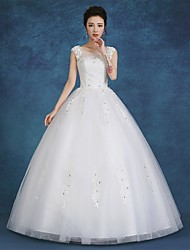 cheap -Ball Gown Wedding Dresses Scoop Neck Floor Length Satin Tulle Cap Sleeve Romantic See-Through Backless with Lace 2020