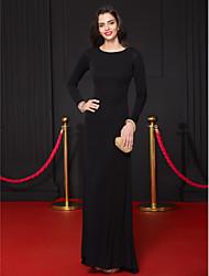 cheap -Sheath / Column Formal Evening Dress Scoop Neck Long Sleeve Floor Length Jersey with Pleats 2021