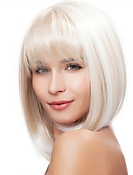 cheap -Synthetic Wig Straight Kardashian Straight Bob With Bangs Wig Medium Length White Synthetic Hair 14 inch Women's White