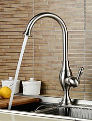 cheap -Kitchen faucet - Single Handle One Hole Nickel Brushed Tall / ­High Arc Deck Mounted Contemporary Kitchen Taps / Stainless Steel