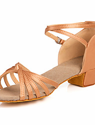 cheap -Women's Dance Shoes Latin Shoes Ballroom Shoes Sandal Low Heel Non Customizable Nude / Bronze / Kid's / Leather / Satin / Leather / EU39