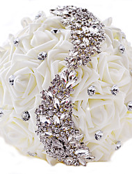 "cheap -Wedding Flowers Bouquets Wedding / Party / Evening Rhinestone / Polyester / Satin 11.02""(Approx.28cm)"