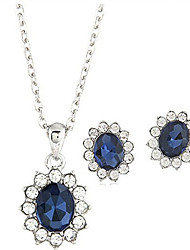 cheap -Women's Crystal Jewelry Set Necklace / Earrings Vintage Party Work Casual Fashion Crystal Rhinestone Earrings Jewelry Blue For Wedding Party Daily Casual